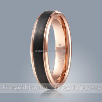 6mm Wedding Bands Tungsten Carbide Ring With Rose Gold Plated Finger Without Stone