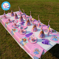 Hot selling party decoration disposable tableware sets princess cartoon themed party supplies for girls birthday party supplies