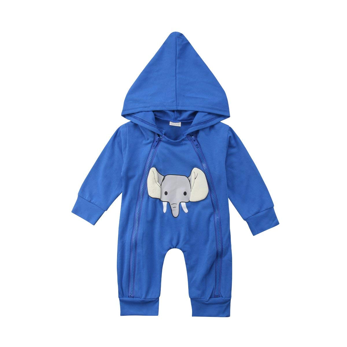 cb2d3433e Newborn Infant Baby Boy Girl Cartoon Elephant Zipper Romper Jumpsuit  Sleeper Bodysuit One-Piece Outfits