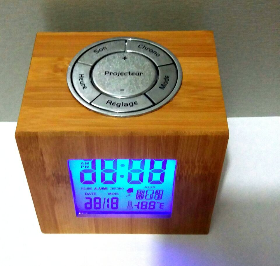 Innovative digital bamboo LED Alarm Clock with nature sound