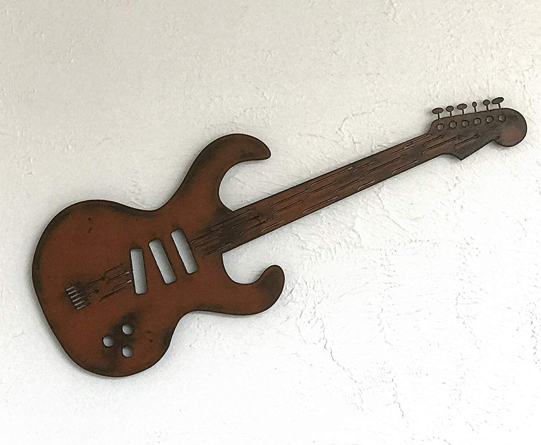 "Steel Guitar Metal Wall Art - Choose 24, 36, or 47"" long - Choose your Patina Color with Rust - Musical Decor -Handmade - Custom Guitar Sign"
