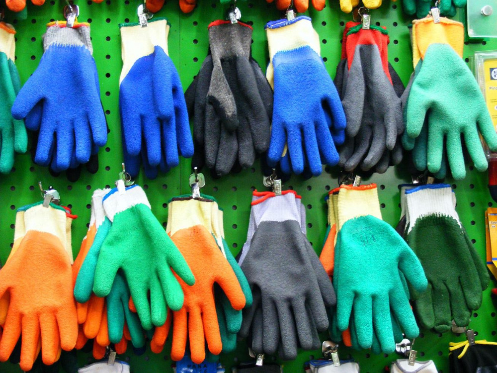 Brand MHR 13 G crinkle latex safety polyester fibre gloves for industrial