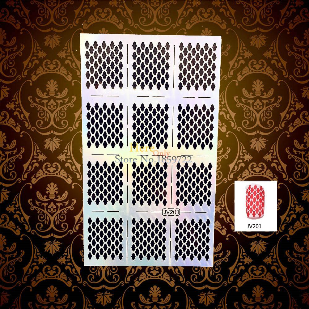 1PC DIY Glitter Nail Stickers Fingernails Salon Hollow Out Irregular Diamond Grid Pattern HJV201 Manicure Nail