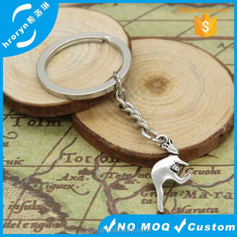 Keychain 21*19mm double sided kangaroo pandents DIY Men Jewelry Car Key Chain 30mm Ring Holder Souvenir For Gift