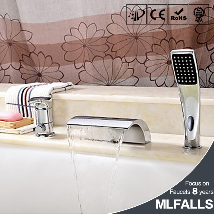 European bath waterfall spout single handle deck mount tub water filter faucet with hand shower
