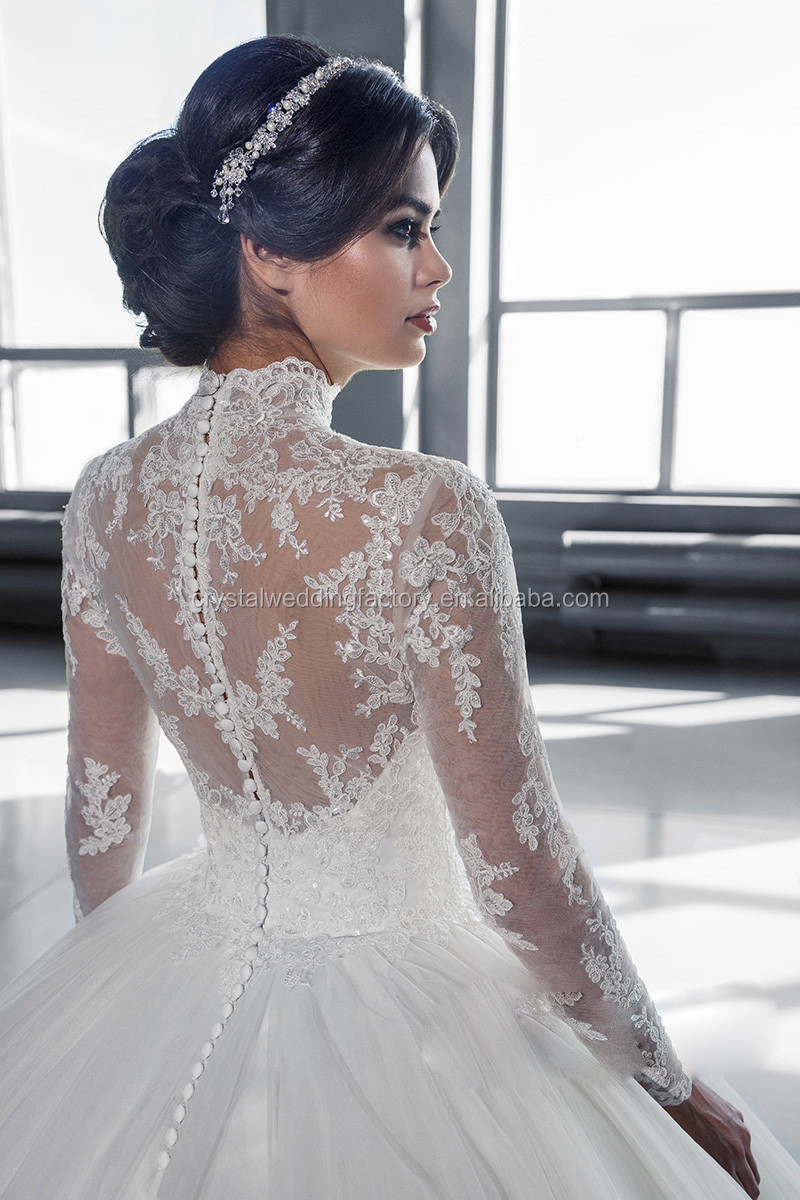 High Neck Iiiusion Back 2016 Lace Ball Gown Wedding Gowns Robe De ...