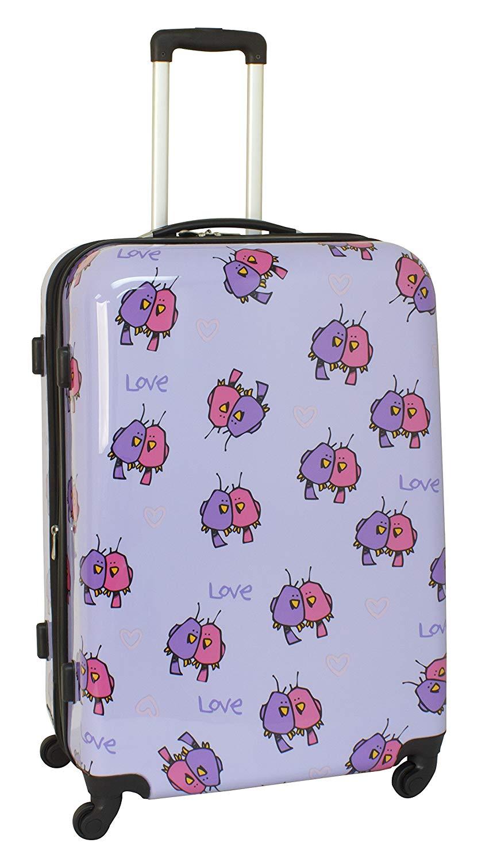 fe75ce675 Ed Heck Multi Love Birds Hardside Spinner Luggage 28 Inch, Light Purple,  One Size