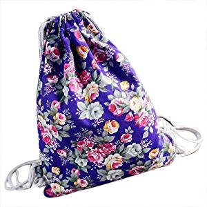 5b9b3b608 Get Quotations · Drawstring Backpack - TOOGOO(R)Womens Floral Canvas  Backpack Fashion School bags Drawstring Backpack