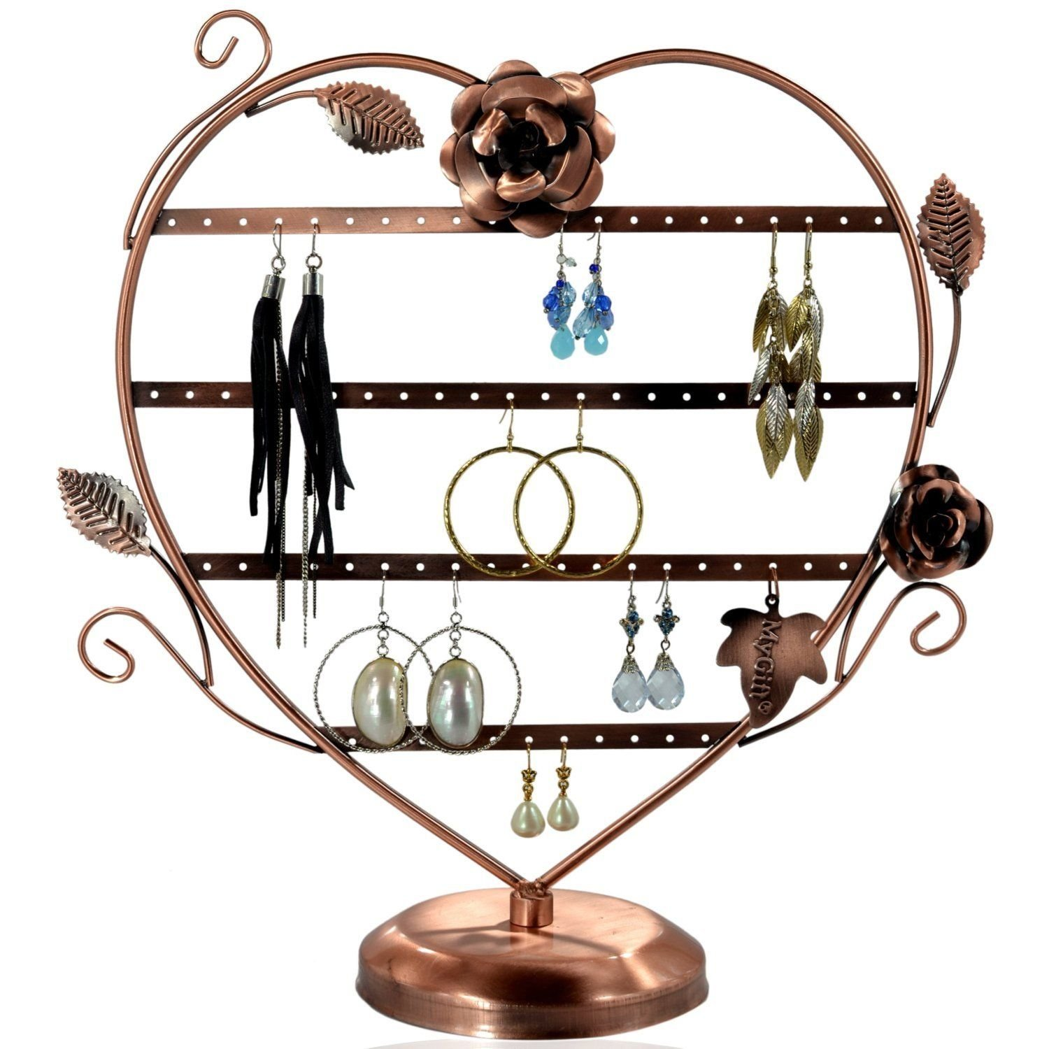 Copper Color Heart-Shaped with Roses Earring Holder Tree Oraganizer Stand Display