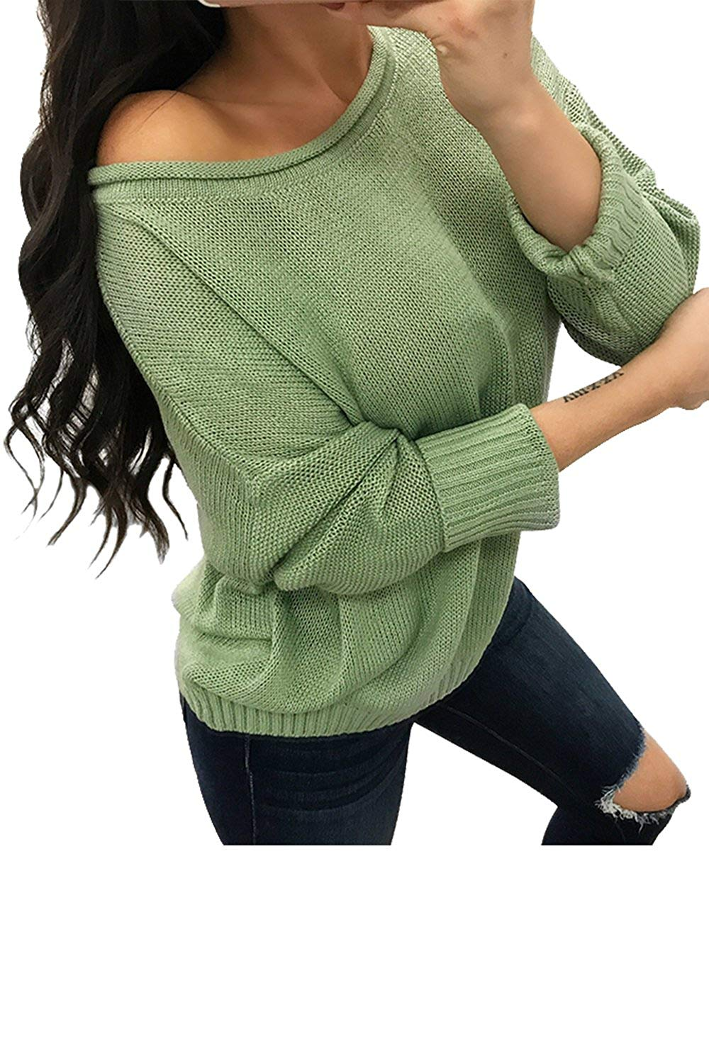 Get Quotations · ReachMe Women s Oversized Sweaters Casual Loose Fit Knitted  Pullover Tops Jumper 2bc77c98c