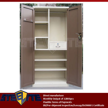 self assembly furniture brown 2 doors beige iron armoire with interior lockable chest drawer. Black Bedroom Furniture Sets. Home Design Ideas