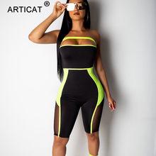 Женский сетчатый комбинезон Articat, летний прозрачный комбинезон без бретелек с открытыми плечами и открытой спиной для вечеринок(Китай)