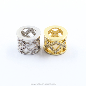 European style jewelry pave CZ large hole tube x pattern Hollow cylinder European beads