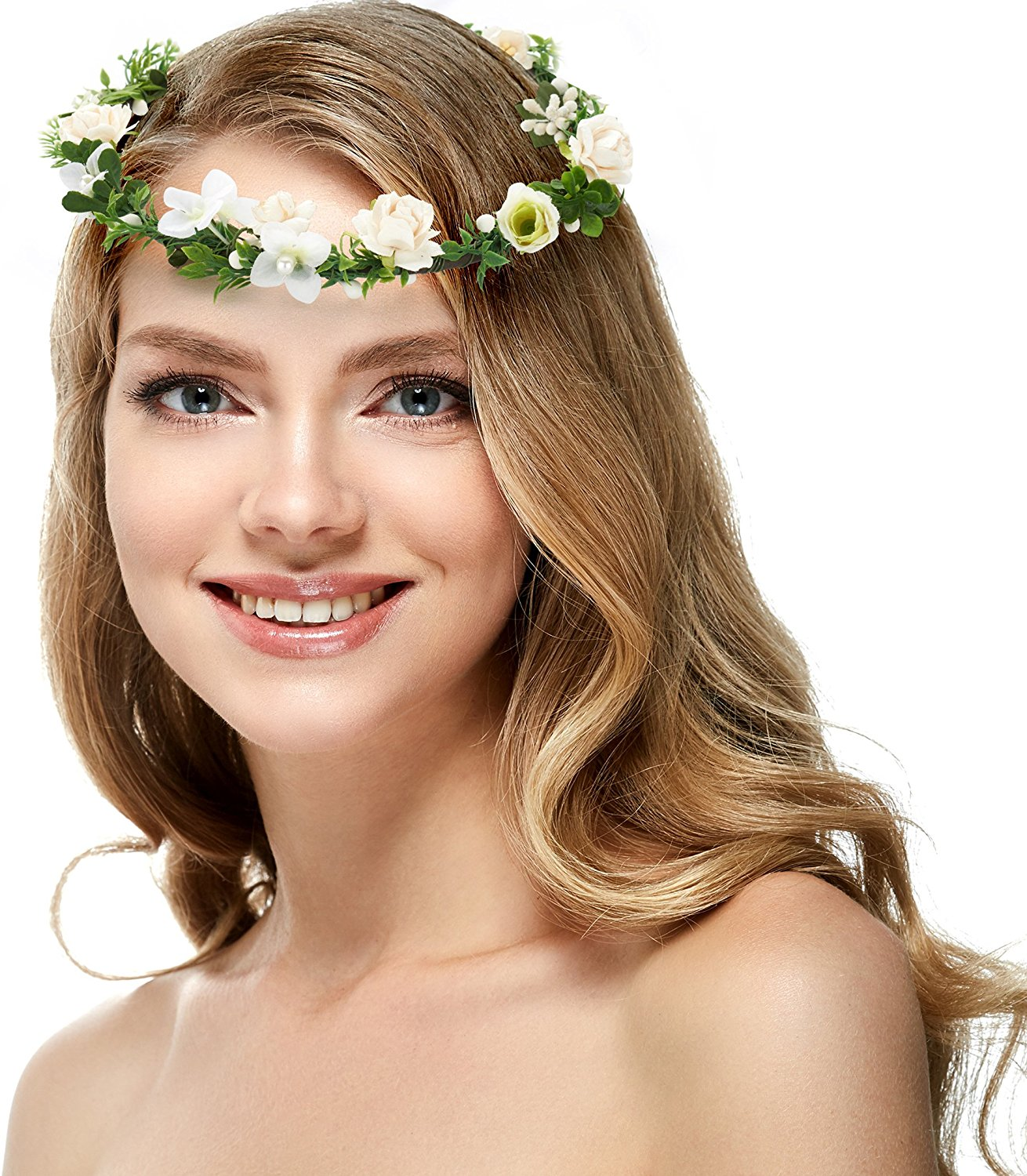 Cheap bohemian flower headband find bohemian flower headband deals get quotations bohemian rose flower crown floral headband for wedding festivals wreath boho garland white izmirmasajfo