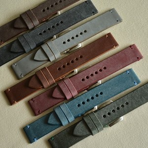 Handmade customized double decker characteristic genuine leather watch band strap