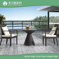 patio garden aluminum pe rattan rattan table and 2 chairs for outdoor