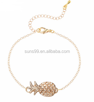 Fashion Accessories For Women, Stainless Steel Hollow Pineapple Gem Wire Cuff Bangles Charm