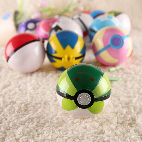 2017 Wholesale Pokemon Go 7cm Pokeball with 2-3cm Mini Anime Pikachu Super Master Action Figures Toys in Display Box