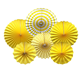 Party Hanging Paper Fans Set, Yellow Round Pattern Paper Garlands Decoration for Birthday Wedding Graduation Events Accessories