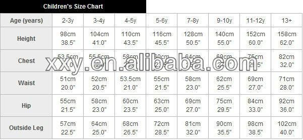 child shirt size chart
