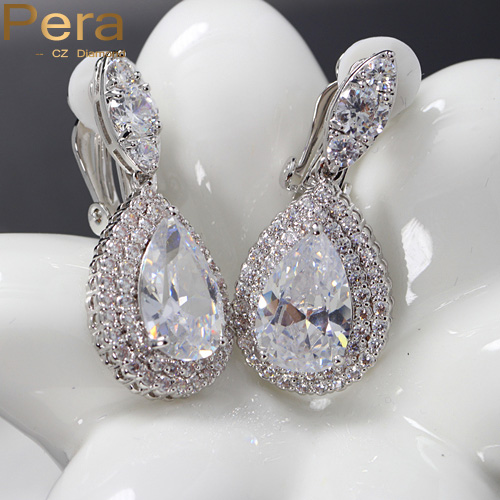 4 Color Choice Big Dangle Drop Cubic Zirconia Diamond ...