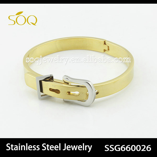 Unique Design 18k Gold Plated Belt Buckle Stainless Steel Bangle