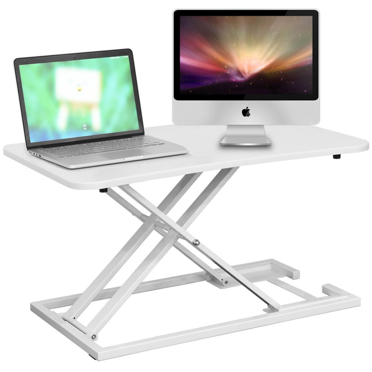 Tangkula Standing Desk Home Office Wood Height Adjustable Sit-to-Stand Computer Riser Standing Desk Converter Monitor Riser