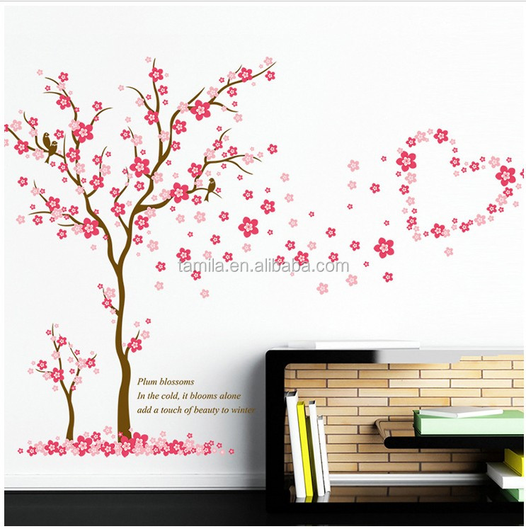 Cartoon lovers Romantic cherry blossoms wall stickers decorate new couple room bedroom removable vinyl wallpaper