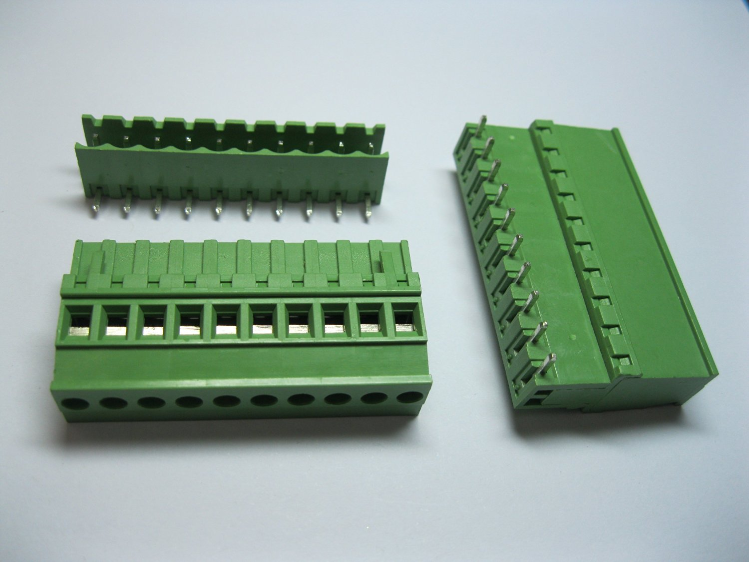 5 Pcs 5.08A 5.08mm Angle 10 Pin Screw Terminal Block Connector Pluggable Type Green Color Skywalking