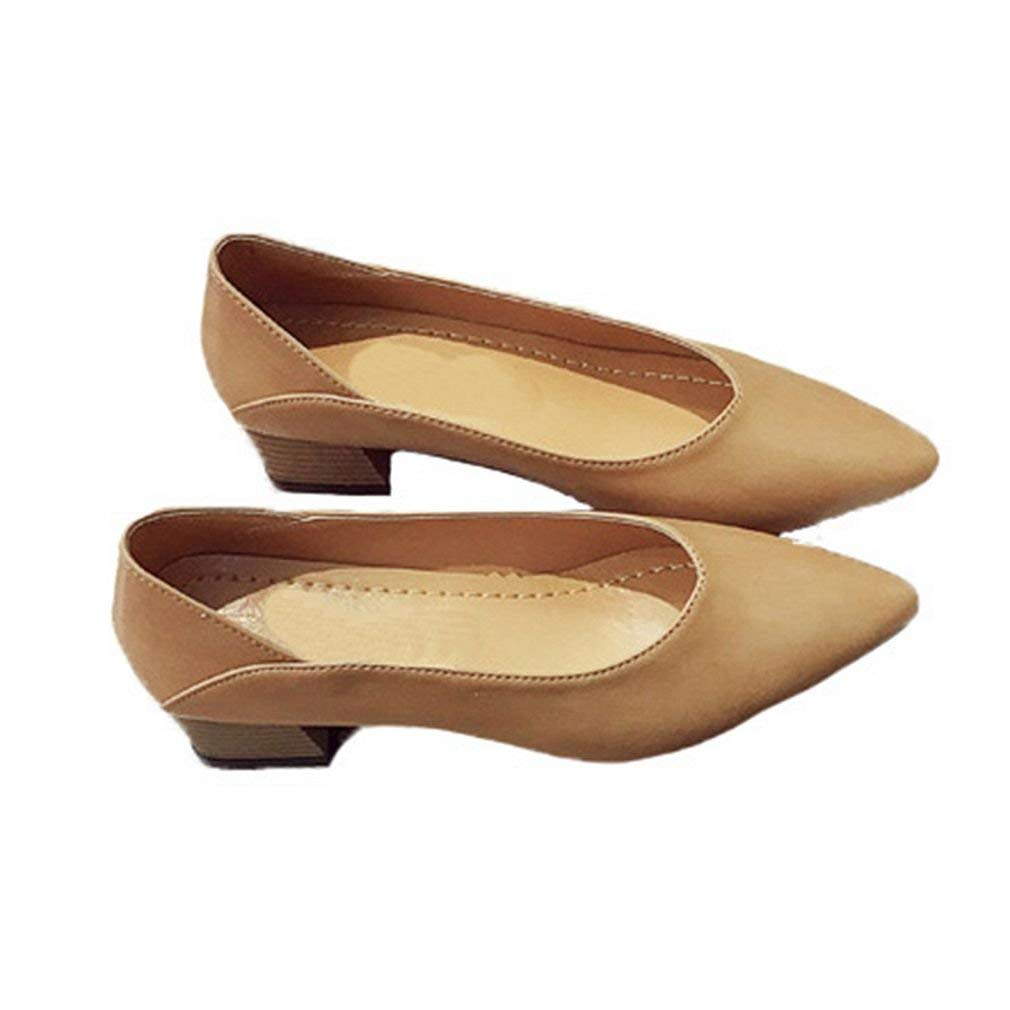 GIY Women's Classic Loafers Pumps Pointed Toe Slip-On Dress Block Heel Business Loafer Oxfords Shoes