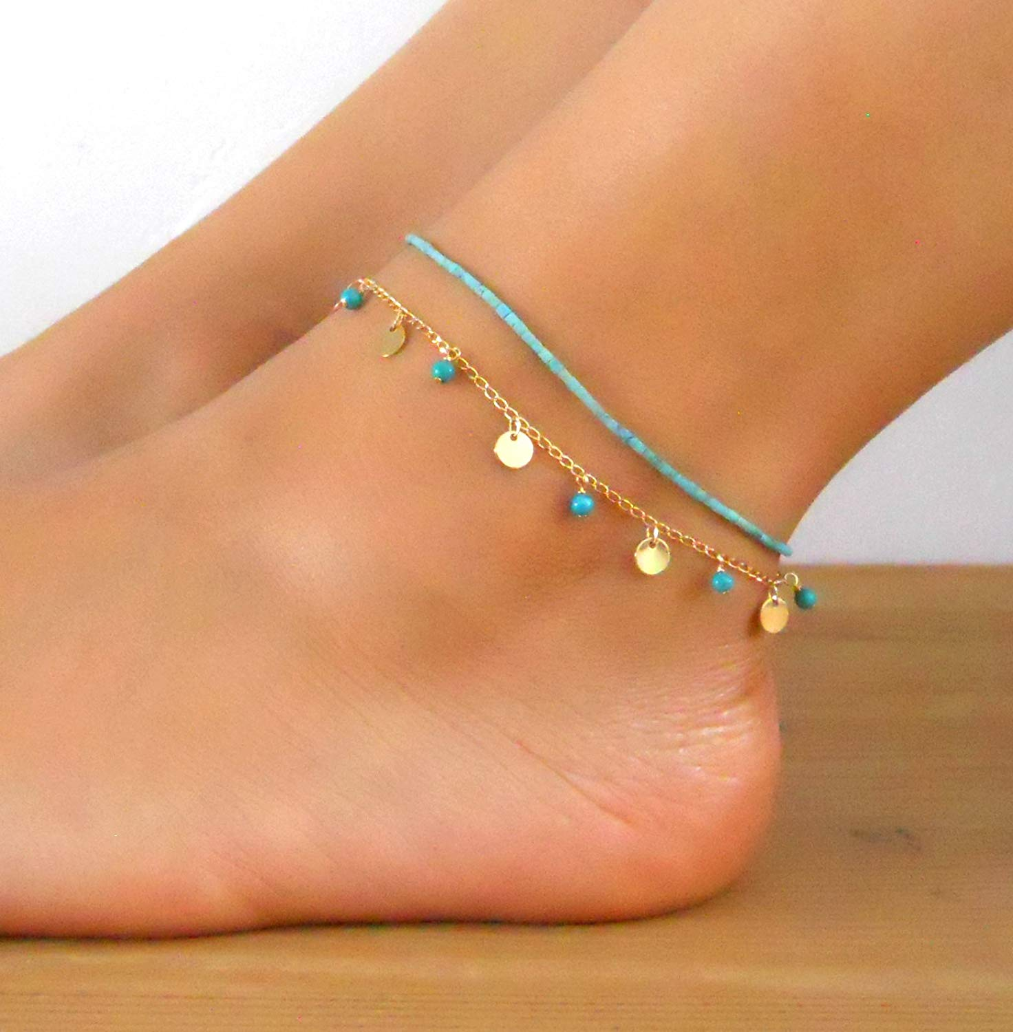 Handmade Designer Multistandard Double Layered Set Of 2 Anklets Turquoise Beads Anklet And Gold Coin Anklet