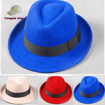Stock Selling Mens Womens Winter Vintage Blue Red Wool Felt Fedora Hats  Wholesale a9f90d81b
