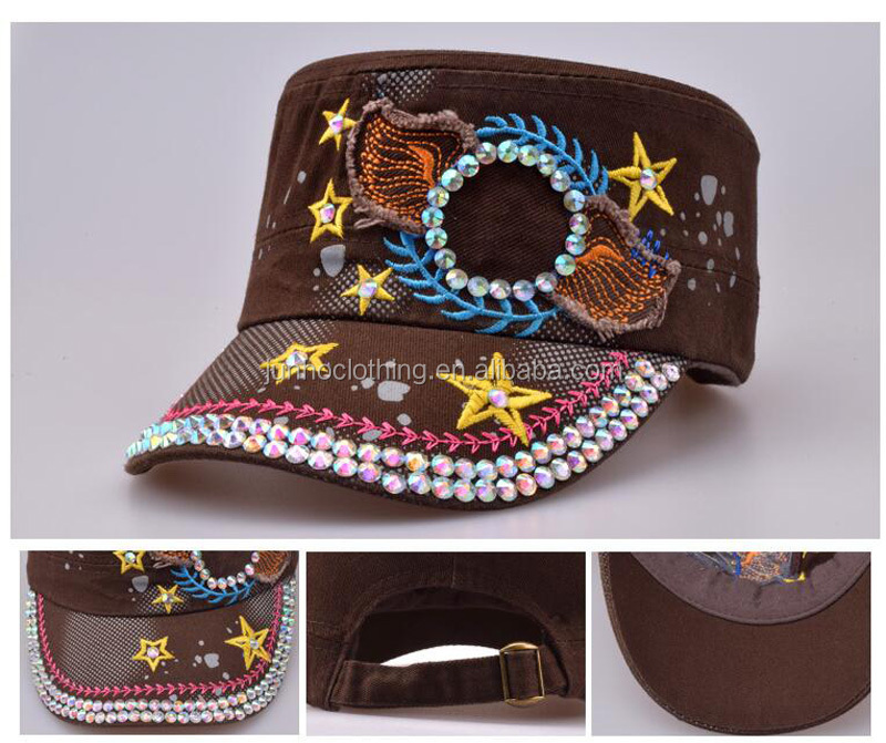 Wholesale bling glitter rhinestone flat top army caps and hats