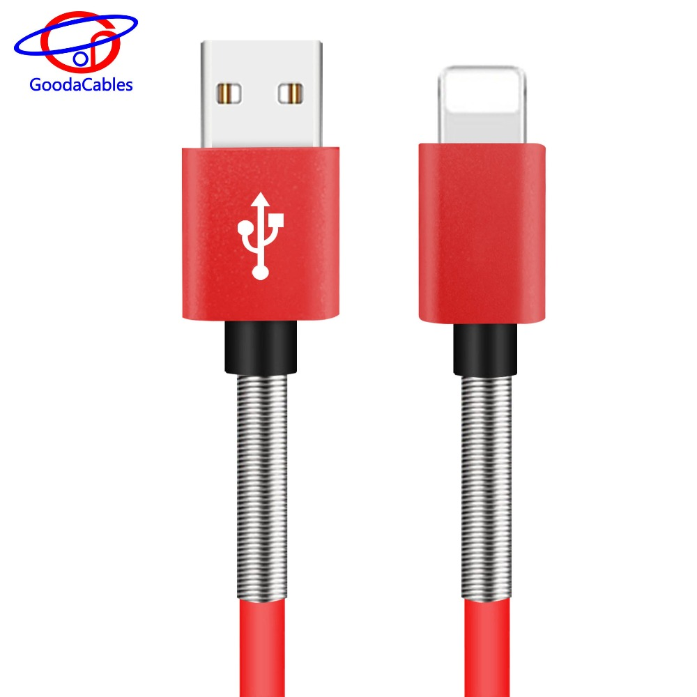 OEM branded custom laser logo charger usb 2.0 ios spring cable