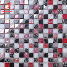 Wholesale glitter crystal crackle red and black glass mosaic tile for wall decoration