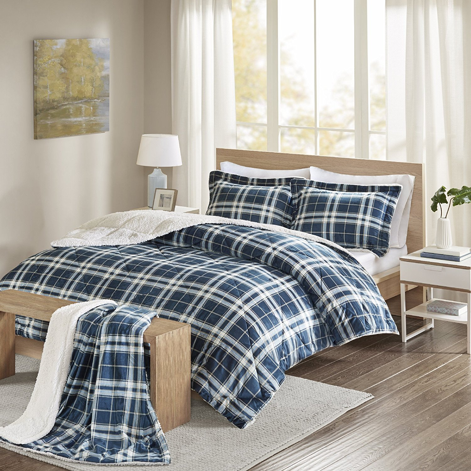 Comfort Spaces - Aaron Sherpa Comforter Set + Throw Combo - 4 Piece - Checker Plaid Pattern - Navy, Blue - King Size - Ultra Softy, Fluffy, Warm - includes 1 Comforter, 2 Shams, 1 Throw