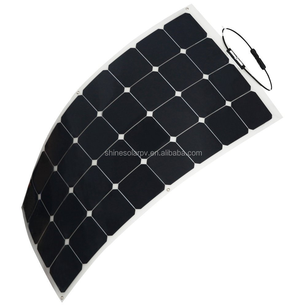 100W Solar Panel Charger SunPower Cell Ultra Thin Flexible with MC4 Connector Charging for RV Boat Cabin Tent Car