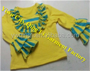 Boutique Wholesale Kids Blank Clothes Adorable Infant & Toddler Girls Yellow Long Cotton Ruffle Shirts with Stripe Bib for Fall