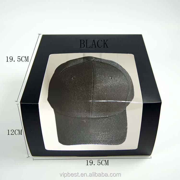 Pure Black Custom Logo Clear PVC Window Cheap Hat Boxes Wholesale