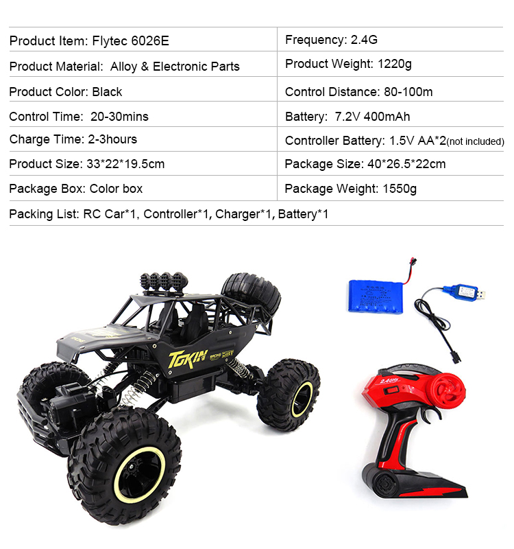 12. 6026E_Black_2.4G_4WD_Off-Road_Buggy_Rc_Climbing_Car_Remote_Control_Alloy_Car