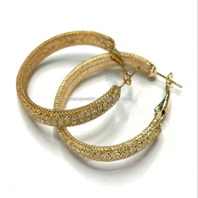 Round Drop Chandelier Oversized Jewelry 18k Gold Plated Metal Mesh Rhinestone Hoop Earrings
