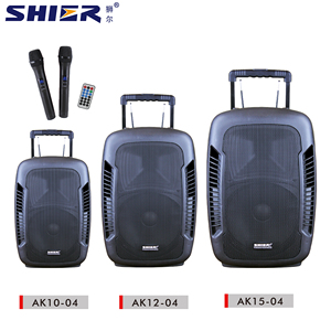 SHIER factory portable pa system with rechargeable battery and high quality karaoke system active trolley speaker