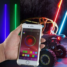 ATV UTV 4X4 Truck Jeep Offroad Snowmobile Motorcycle Bluetooth LED RGB Controller Antenna Sand Flag Pole Led Whip Light