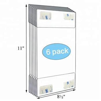 "8.5x11 Inch Wall Mount Acrylic Sign Holder with Hook and Loop Adhesive 6 Pack Portrait Clear Display Frame for 8.5 x 11"" Paper"