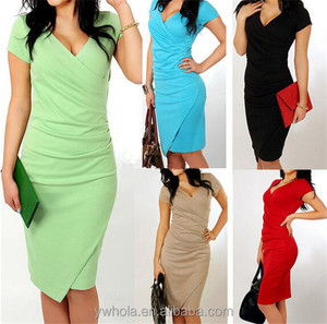 2016 Summer Office Lady Slimming Red Latest Dress Designs