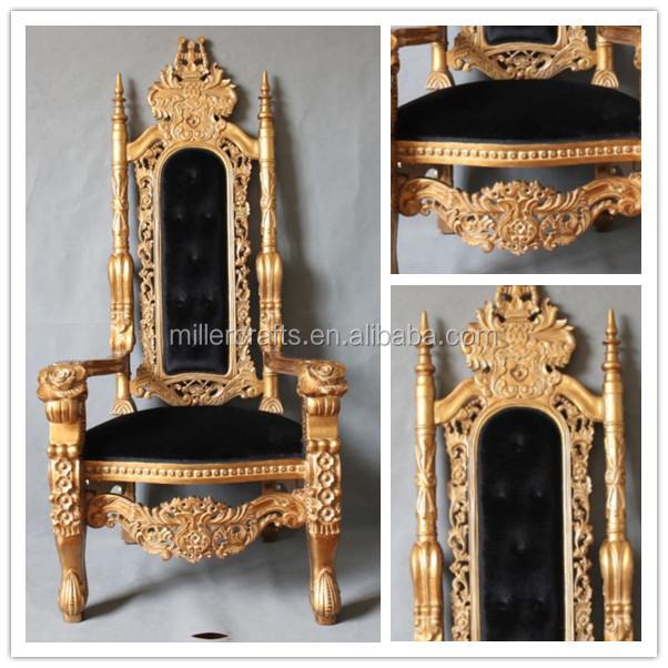Miller gold color bride and groom royal wedding chair for Skilled craft worker makes furniture art etc