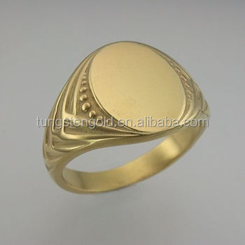 Fashion Jewelry Woven Shank Signet Ring Mens Gold Plated Stainless