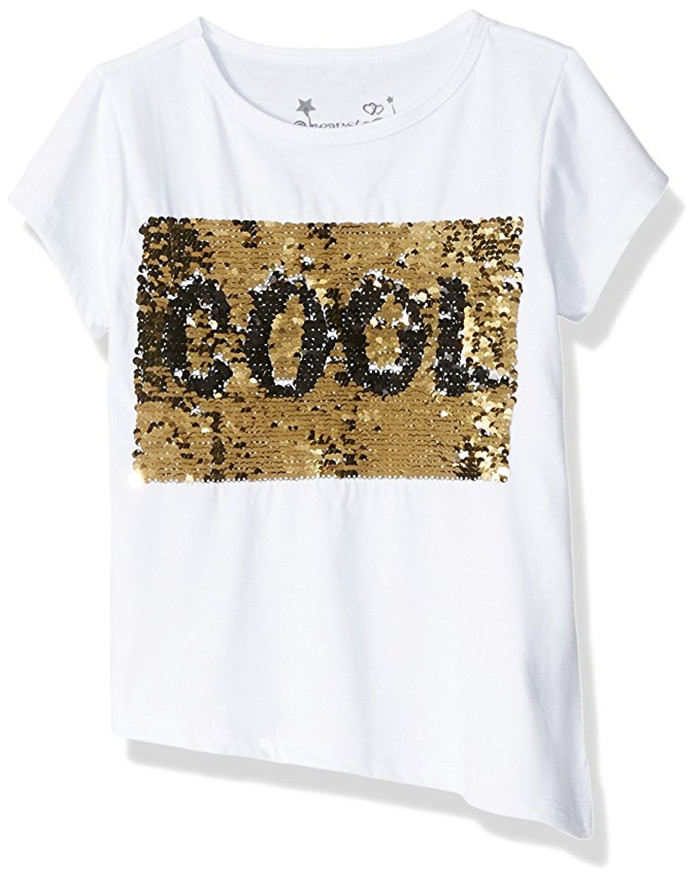 cab3a865 Custom Gold Reversible Shiny Sequin T shirt Black WOW Change 2 Way Sequins  Letter Funny T