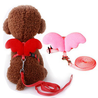 Cute Angel Pet Dog Leashes Necklaces Set Puppy Carries Leads For Small Dogs Cats Kitty