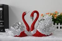 Holiday decoration for hotel restaurant livingroom artificial polyresin swan animal figurine